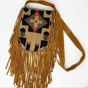 Southwestern Repurposed Leather Fringe Cross Body